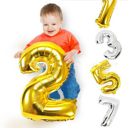 Wholesale New Years Celebration - 1PC Large 30inch Gold Silver Number Balloon Aluminum Foil Helium Balloons Birthday Wedding Party Decoration Celebration Supplies