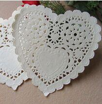 Wholesale Doily Hearts - Wholesale- 200pcs lot 5.5'' White Lace Heart Paper Doilies Placemat Craft Doyleys Wedding Christmas Tableware Decoration AN44