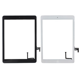 Wholesale Touch Button Free Shipping - 50PCS Touch Screen Glass Panel Digitizer with Buttons Adhesive Assembly for iPad Air free Shipping