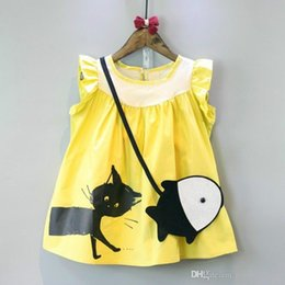 Wholesale Korean Fish Bag - new arrivals Girl dress kids Korean style round collar sleeveless cat print kids girl send little fish Inclined shoulder bag
