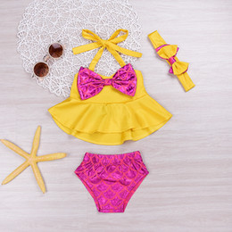 Wholesale Kids Swimwear For Girls - Mikrdoo 3PCS Kids Baby Girl Clothes Sets Cute Polka Dot Bikini Yellow Bowknot Tops Swimwear Kids Bow Bathing Suit Beachwear For Age 0-4 Year