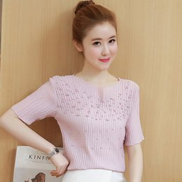 22139eef381cd Summer Short Sleeve Chiffon Blouse Lady s Show Thin Beading Small Shirts  Chiffon Blouses Shirt