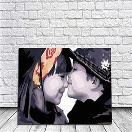Wholesale Painting Canvas For Kids - Framed Kids Kissing DIY Painting By Numbers Drawing By Painting Kits Painting Hand Painted On Canvas For Home Wall Art Picture Home Decor
