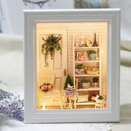 Wholesale Wholesale Doll Kits - Wholesale- 2016 New Arrival Home Decoration Crafts Wooden Doll Houses Miniature DIY dollhouse Furniture Kit Toys for Children Gift W-005