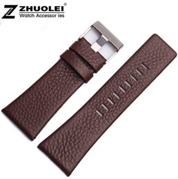 Wholesale 28mm Ships - Wholesale-22mm 24mm 26mm 28mm 30mm New High Quality Black Brown White Genuine Leather Watch Bands Strap Bracelets Free Shipping