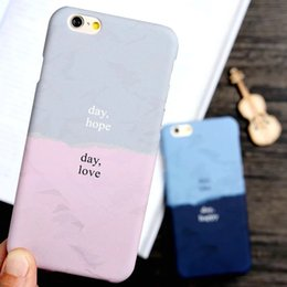 Wholesale Couples Iphone - Two colors fight color fashion text printing day like day happy mobile phone case protective cover 7Plus couple shell