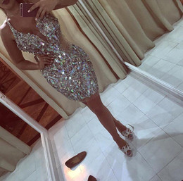 Wholesale White Bling Cocktail Dresses - 2017 New Design Glitz Bling Sequins Crystals Mini Short Cocktail Dresses 2017 Plunging Halter Neckline Homecoming Prom Party Dresses BA4317