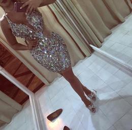 Wholesale silver design sequin cocktail dress - 2017 New Design Glitz Bling Sequins Crystals Mini Short Cocktail Dresses 2017 Plunging Halter Neckline Homecoming Prom Party Dresses BA4317