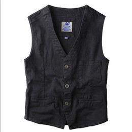 Wholesale Men Sleeveless Jean - Wholesale- Blazer Vest Mens Denim Vests Single Breasted Sleeveless Jean Jacket New Gilet Men Vintage Slim Fit Dress Suit Vest A1647