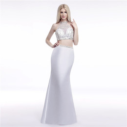 Wholesale Real Stone Flooring - Real Model Photos White Elegant Halter Sheer Silver Stone Beaded Two Piece Evening Dresses Mermaid 2 Prom Dresses LG0165