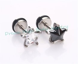 Wholesale Ear Rings Star - Five Star Earrings Ear Stud Ring Zircon Stainless Steel Barbell Bar Popular Shiny Crystal charming Men Women