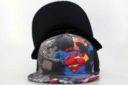 Wholesale Hat Dc Comics - 2017 New DC Comics Superman Snapbacks caps baseball hat for men women Adjustable Outdoor Hats Unisex Fashion Hip Hop cap free Shipping