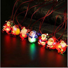 Wholesale Santa Led Decoration - Wholesale LED Lighted Toys Christmas Party Lighted Toys Santa Claus Snowman Necklace Kid's Necklace Toys LED Decorations Party Gifts