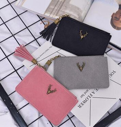 Wholesale Gray Clutch Handbag - New Arrival Handbags Gray Color Antlers Vintage Clutch bag Tassels coin purse With PU High Quality For Lady gift Cheap Sale Outdoor Bags LY8