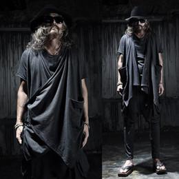 Wholesale Punk Gothic Coat - Wholesale- Male vest street fashion punk sleeveless coat men's gothic cardigan vest stage clothing men Irregular shawl waistcoat,Q88