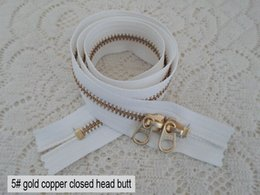 Wholesale Cotton Mouth Head - 5#Outdoor bag zinc alloy leather mouths zipper 30-100cm YKK5# gold copper closed head butt white zipper bags