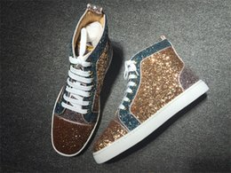 Wholesale Glitter Dress Tops - Designer Brand Lover Glitter Leather Men's Sneaker Shoes High Top Fashion Red Bottom Sneakers Shoes Women Party Dress Casual Trainer