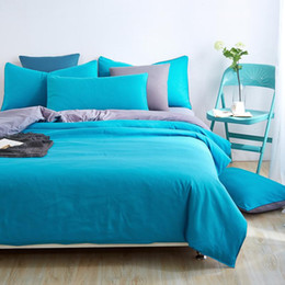 Wholesale chinese bedspreads - Wholesale-Home textiles,blue+grey solid color bedding sets bedspread King queen full size of quilt cover bed Sheet pillowcase