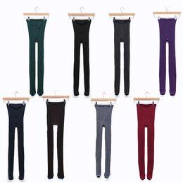 Wholesale Hosiery Pants - 1pcs Women Girl Knit Pants Thick Tights Vertical Strip Skinny Leg Stretchable Step Foot Stocking Hosiery Leggings