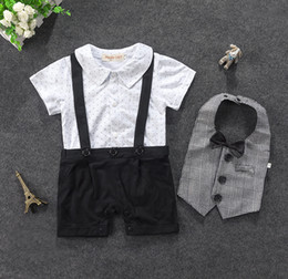 Wholesale Onesies Tutus - Retail Summer Baby Boys onesies Rompers Infant Gentleman Star Short Sleeve Jumpsuit Plaid Bib Outfit Sets Baby Clothing 12085