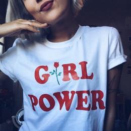 Wholesale East Knitting Fashion - Wholesale- EAST KNITTING CD-H1289 New Punk 2017 Women GIRL POWER t-shirt Rose Print Shirt Tee Red Letter Printed Brand Shirt