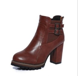 Wholesale Lace Up Chunky Platform Heels - 2017 Autumn Winter TOP Style NEW Women Female Retro Straps Buckle Mujer Chunky Heels Platform Warmth Ankle Boots Bottine Shoes Zapatos A001