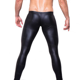 Wholesale Tights Pants Leather - Wholesale-On Sale Men' Fashion Low-rise Bulge Pouch Night Club Stage Performance Tights Pants Men's Sexy Faux Leather Leggings Black Skin