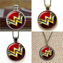 Wholesale wonder woman wholesale - 10pcs Wonder Woman Superhero logo Pendant Necklace keyring bookmark cufflink earring bracelet