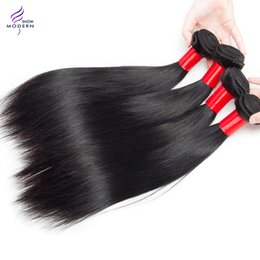 Wholesale Wholesale Black Natural Hair Products - New Arrival Brazilian Virgin Hair Straight Human Hair Weave Modern Show Hair products Natural Black 1b Can be Dyed and Bleached All Color