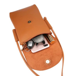Wholesale Cellphone Purses - Universal 6.5inches CellPhone Leather Pouch Purse Wallet Case mini Crossbody Shoulder Strap for iPhone 7 7plus Galaxy 8 8plus