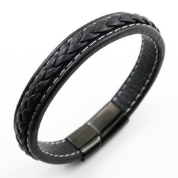 Wholesale Mens Stainless Chain Bracelets - Unique Stainless Steel Bracelets & Bangles Mens Gift Black Leather Knitted Bracelet Jewelry