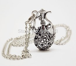 Wholesale Vintage Antique Silver Long Chains - Wholesale-NQ027 Antique Silver Hollow Bottle Flagon Pendant costume Long Chain Vintage Necklace Jewelry bijouterie for Women Girls