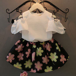 Wholesale Summer Baby Skirt Top - Wholesale- 2Pcs Sets Baby Kids Girls Clothes Summer Dress Chiffon Blouse Tops + Floral Skirt Outfits Suit 2-7Y Children clothing