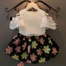 Wholesale Girls Kids Dress Top Skirt - Wholesale- 2Pcs Sets Baby Kids Girls Clothes Summer Dress Chiffon Blouse Tops + Floral Skirt Outfits Suit 2-7Y Children clothing