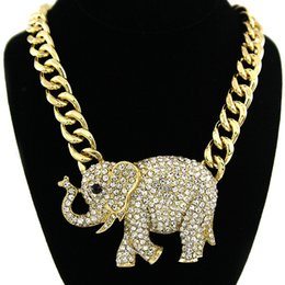 Wholesale Flashing Links - Hip Hop Exaggeration Elephant Necklace Auger Crystal Animal Jewelry Super Flash Lady Women Elephant Pendant Necklace Collarbone Chain