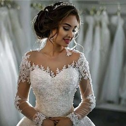 Wholesale Ruffle Long - 2017 New Dubai Elegant Long Sleeves A-line Wedding Dresses Sheer Crew Neck Lace Appliques Beaded Vestios De Novia Bridal Gowns with Buttons