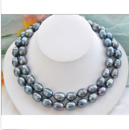 "Wholesale Black South Sea Pearls - NOBLEST RARE NATURAL 12-15MM SOUTH SEA BLACK BLUE PEARL NECKLACE 35"" GOLD CLASP"