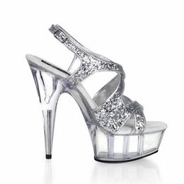 Wholesale Transparent Platform Heels - Customize Women Sexy 15cm High Heel Platform Sandals Open Toe Dance Shoes Crystal Transparent Thin Heels Sandals D0112