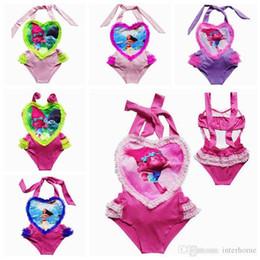 Wholesale Girls Swimsuit Heart - Girls Moana Trolls Swimsuit Trolls Princess One-Pieces Bikini Summer Lace Love Heart Swimwear Baby Swimwear Beach Pool Bath Beachwear G151