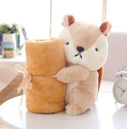 Wholesale Toy Squirrels For Kids - 0721 HANCHENEXP Squirrel Animal Toy with Blanket Office Home Nap Plush Blanket Stuffed Auqirrel Soft Toy with Plush Blanket for Kids Adults