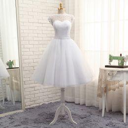 Wholesale Cheap Informal Wedding Dresses - Informal Wedding Dresses 2017 Vintage Tea Length Tulle Sheer Crew Neck Cap Sleeve Bridal Gowns Ball Gown Cheap Beach Bride Dress