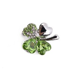 Wholesale China Bouquet - Silver Tone Metal Alloy Women's Jewelry Brooches Olive Clover Rhinestone Brooch Corsage Wedding   Banquet   Bouquet