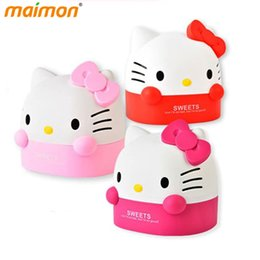 Wholesale Tissue Plastic Storage Containers - Wholesale- Table Decorative Cute Hello Kitty Roll Paper Storage Boxes Home Office Desktop Plastic Cat Tissue Container Paper Organizer Box