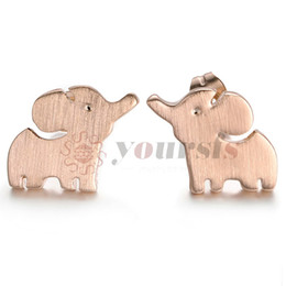 Wholesale Earring Gold 18k Baby - Yoursfs Baby Elephant Earrings Stud For women alloy rose Gold Plated earring Fashion party Jewelry