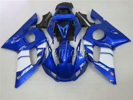 Kits de carenados del mercado de accesorios yamaha r6 online-Juego de piezas de recambio del cuerpo de recambio para Yamaha YZR R6 98 99 00 01 02 carenados negro azul set YZFR6 1998-2002 HT09