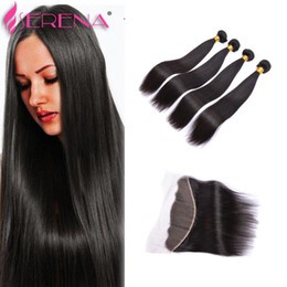 Wholesale Ladies Hair Color - 13x4 Ear To Ear Lace Frontal Closure With Bundles 8A Brazilian Straight Virgin Hair With Closure Soul Lady Lace Frontal Weave