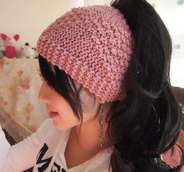 Wholesale Extensions Buns - 2017 send Handmade Messy Bun Hat Crochet Messy Bun Beanie Womens messy bun hat 6 Colors IN STOCK
