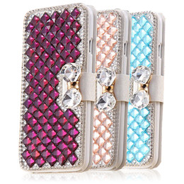 Wholesale Diamond Flip Cases - For iphone 6s iphone 7plus case Luxury Rhinestone PU Leather Diamond Wallet Case Credit Card Holders Flip Cover