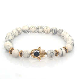 Wholesale 8mm Bracelets - Wholesale-8mm White Turquoise Natural Stone Beads Fatima Hand Hamsa Stretch Elastic Mens Bracelet