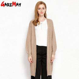 Wholesale Sweater Coats For Women - Long Cardigan Female Knitted Sweater Crocheted Cardigans White Long Sleeve Tops Rebeca Mujer Coats For Women Clothing GAREMAY